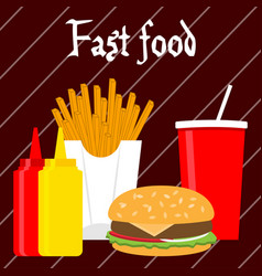 fast food banner in flat style vector image