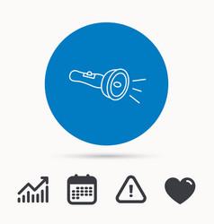 Flashlight icon light beam sign vector