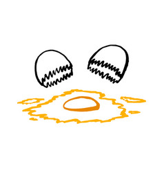 frying egg using hand drawing or doodle art vector image