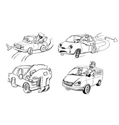 Funny sketches of people and cars vector