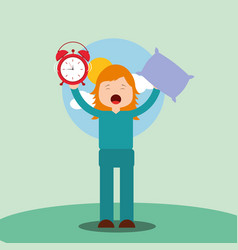 Girl waking up holding pillow and clock vector