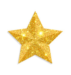 glitter gold star isolated on white backgro vector image