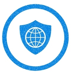 Global Shield Rounded Icon Rubber Stamp vector image