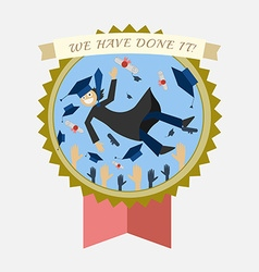 Graduation Badge Happy Student and Hats Tossing vector