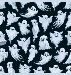 halloween ghost cartoon seamless pattern vector image