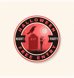 halloween night party patch retro badge vector image