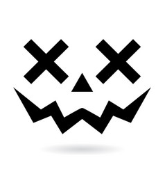 halloween pumpkin face design with teeth vector image