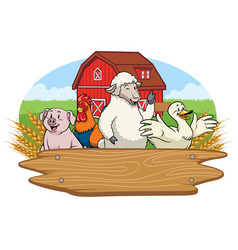 happy animals in farm yard with blank wooden vector image