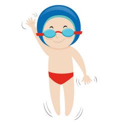 happy boy swimming backstroke vector image