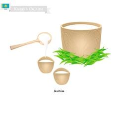 Kumissor or Kazakh Fermented Horse Milk vector