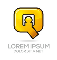 letter iq combination alphabet design icon vector image