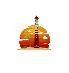 Lighthouse beach island view vector