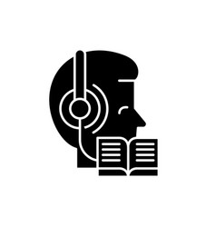 listening to music and reading black icon vector image