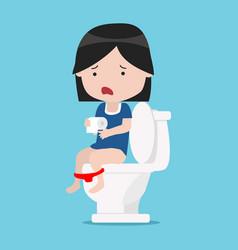 Little girl sitting on white toilet vector