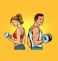 Man and woman with dumbbells vector