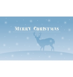 Merry Christmas deer with snowflakes scenery vector image