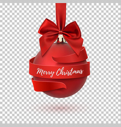 merry christmas tree decoration with red bow and vector image