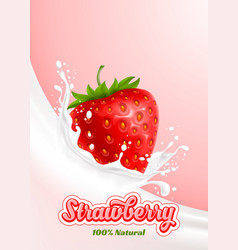 milk splash and strawberry vector image