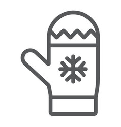 Mitten line icon winter and clothes glove vector