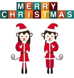 Monkey Santa Claus vector