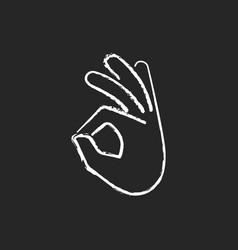 Okay gesture chalk white icon on black background vector
