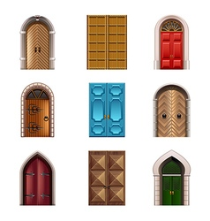 Old doors icons set vector image