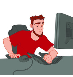 Phlegmatic man broke the keyboard vector