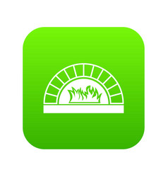 Pizza oven with fire icon digital green vector