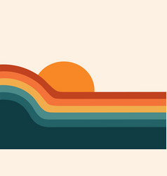 retro 70s sunset abstract rainbow stripe wave vector image