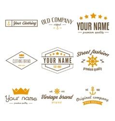 Retro Vintage Insignias logo or Logotype set vector image