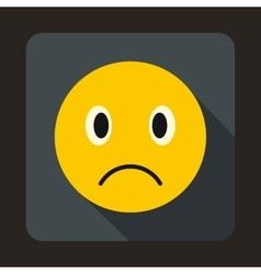 Sad emoticon icon flat style vector image