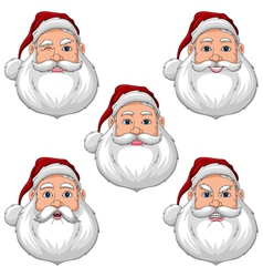 Santa Claus Various Expressions Face Front View vector image