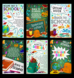 school supplies sale banner with student items vector image