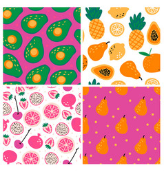 Set four seamless repeat patterns with hand vector