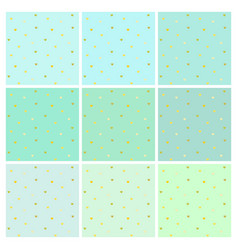 set of mint backgrounds with small golden hearts vector image