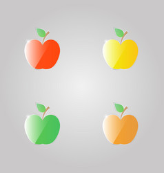 Set of shiny apples icons on gray background vector