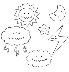 set of things in the sky vector image