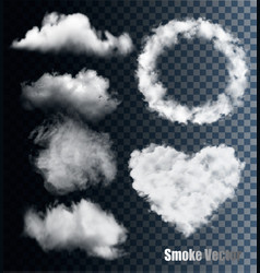 Set of transparent different smoke and cloud vector