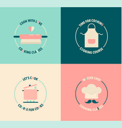 set vintage logo for cooking classes courses vector image