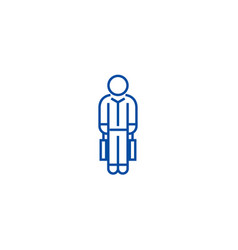 shopping man with bags line icon concept shopping vector image