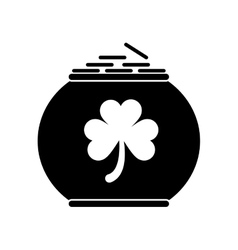 silhouette pot full coins shamrock st patrick day vector image