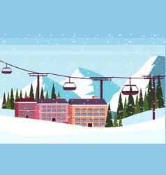 ski resort hotel houses buildings cable car vector image
