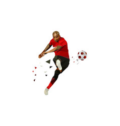 soccer player kicking ball polygonal vector image