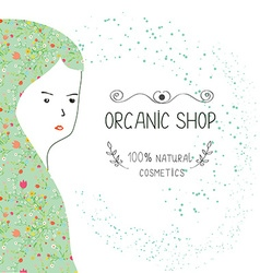 Spa or organic shop banner with girl and nature vector