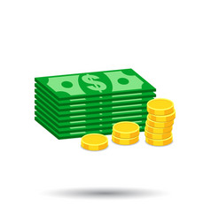 Stacks gold coins and stacks dollar cash in vector