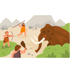 Stone age hunting ancient men chasing mammoth vector