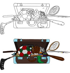 Suitcase full of things vector