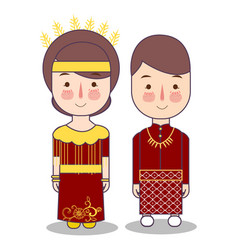 ternate north maluku province wedding couple cute vector image