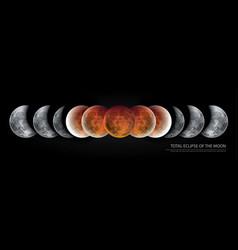 Total eclipse moon vector