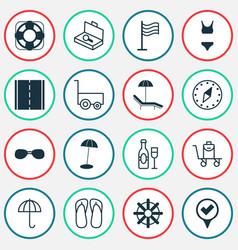 Tourism icons set with bikini beach umbrella vector